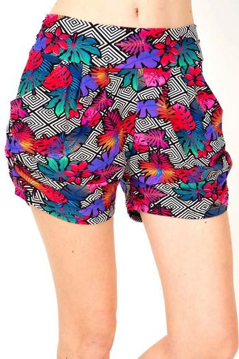 Wholesale Buttery Soft Rainbow Foliage Harem Shorts
