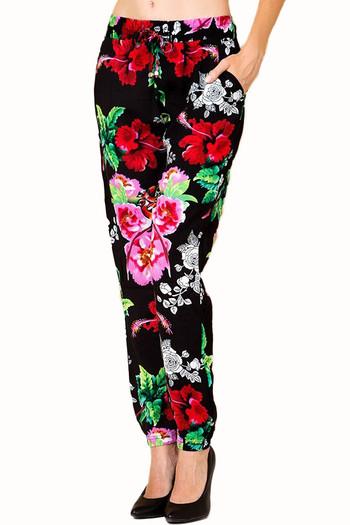 Wholesale Colorful Floral Burst Fashion Harem Joggers