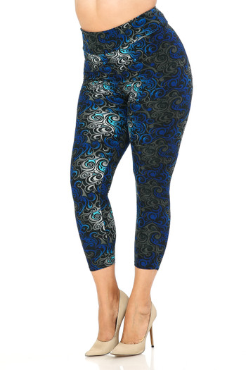 Wholesale Buttery Soft Tangled Swirl High Waisted Plus Size Capri - EEVEE