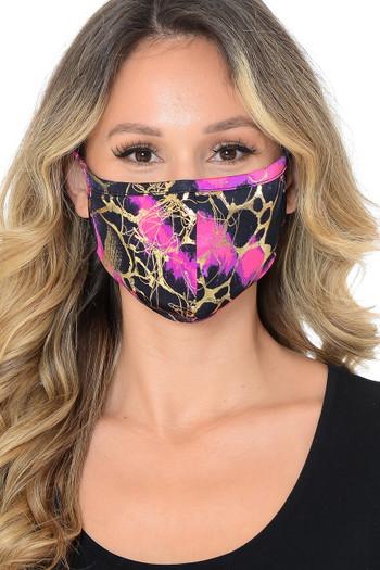 Fuchsia Wholesale Neon Colorcade Metallic Gold Fashion Face Mask - Made in USA