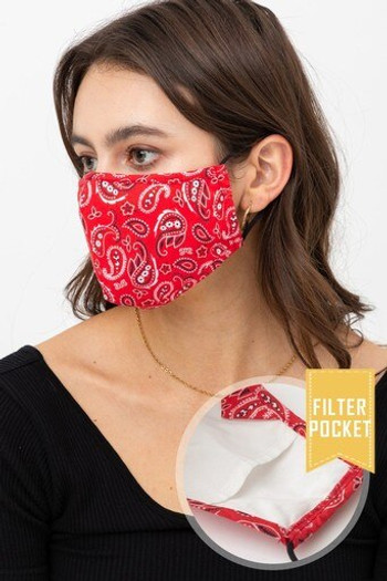 Wholesale Red Bandana Fashion Face Mask with Built In Filter and Nose Bar