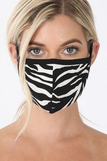 Wholesale Zebra Print Face Mask - Imported
