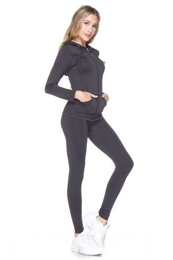 Wholesale Premium Zipper Hoodie Jacket and Legging Set - Plus Size