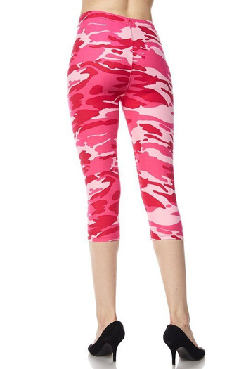 Wholesale Buttery Soft Pink Camouflage Capris