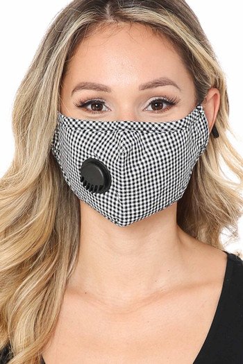 Black Wholesale checkered Plaid Face Mask with Air Valve