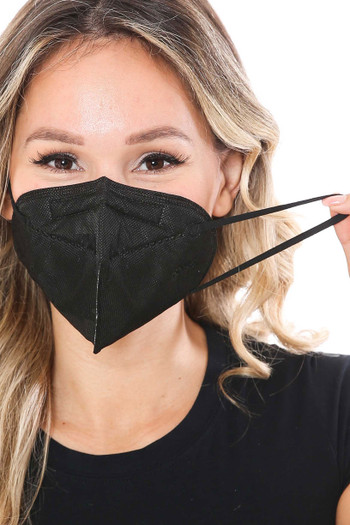 Showing Ear Strings of Wholesale Black KN95 Face Mask- Singles - Individually Wrapped