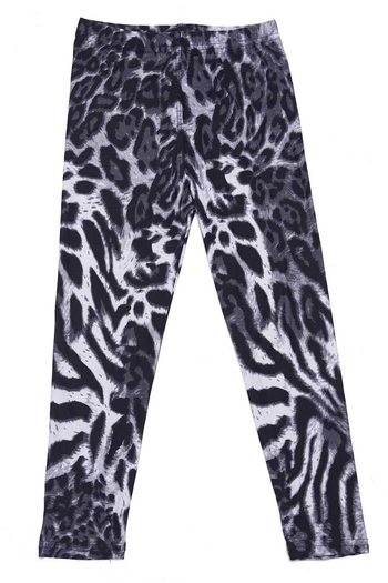 Wholesale Buttery Soft Black and White Siberian Tiger Kids Leggings