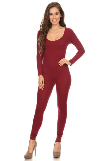 Front side image of Wholesale USA Full Long Sleeve Cotton Jumpsuit