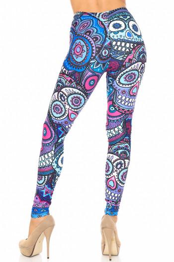 Wholesale Creamy Soft Jumbo Purple Sugar Skulls Extra Plus Size Leggings - 3X-5X - By USA Fashion™