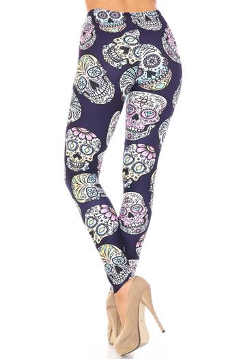 Wholesale Creamy Soft Indigo Jelly Bean Sugar Skull Extra Plus Size Leggings - By USA Fashion™