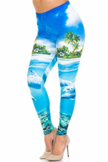 Wholesale Creamy Soft Dolphin Paradise Plus Size Leggings - By USA Fashion™