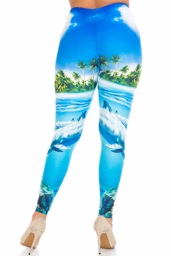 Wholesale Creamy Soft Dolphin Paradise Extra Plus Size Leggings - 3X-5X - By USA Fashion™