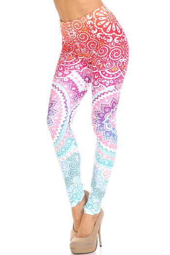 Wholesale Creamy Soft Ombre Mandala Aztec Extra Plus Size Leggings - 3X-5X - USA Fashion™