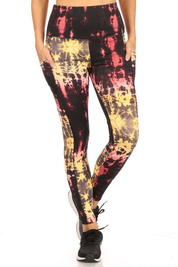 Wholesale High Waisted Sunshine Tie Dye Sports Leggings with Side Pockets