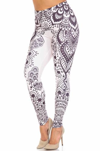 Wholesale Creamy Soft Creamy Tribal Mandala Extra Plus Size Leggings - 3X-5X - USA Fashion™