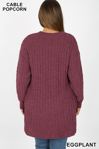 Back side image of Front image of Eggplant Wholesale Cable Knit Popcorn Round Neck Hi-Low Plus Size Sweater