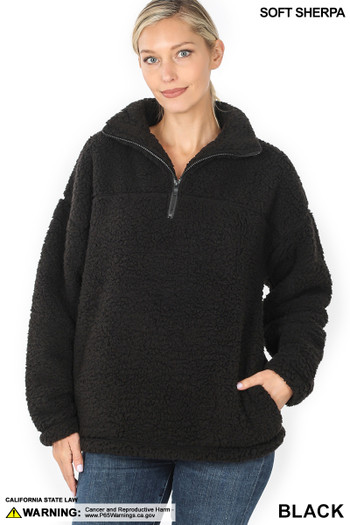 Front image of Black Wholesale Sherpa Half Zip Pullover with Side Pockets