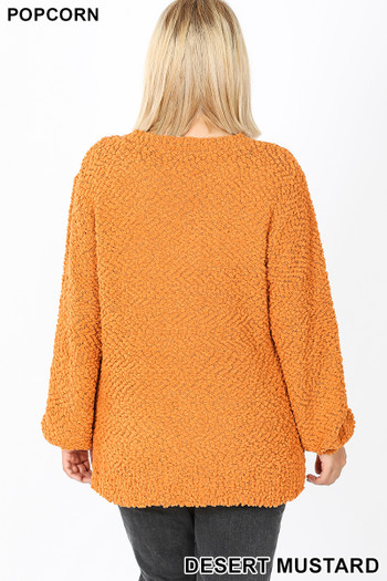 Back image of Desert Mustard Wholesale Popcorn Balloon Sleeve Round Neck Plus Size Pullover Sweater