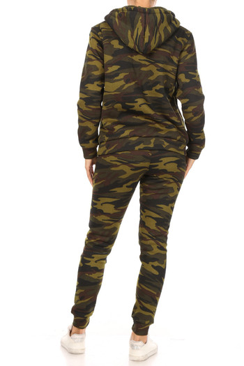 Wholesale 2 Piece Fur Lined Camouflage Leggings and Hooded Jacket Set
