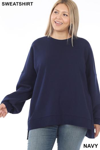 Front view of Navy Wholesale Round Neck Hi-Low Hem Plus Size Sweatshirt