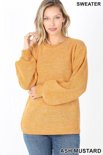 Front image of Ash Mustard Wholesale Balloon Sleeve Melange Sweater