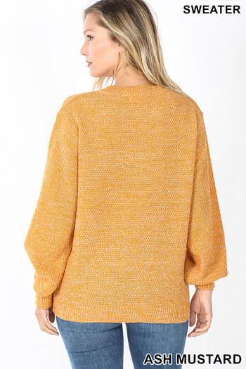 Back image of Ash Mustard Wholesale Balloon Sleeve Melange Sweater