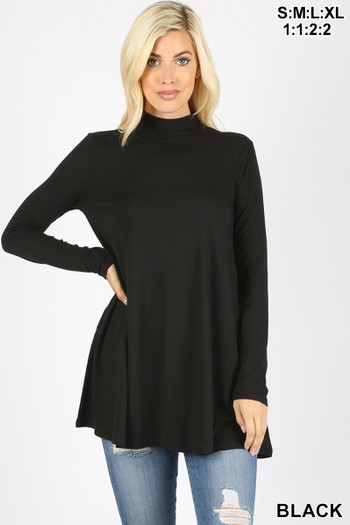 Front image of Black Wholesale Long Sleeve Mock Neck Top with Pockets