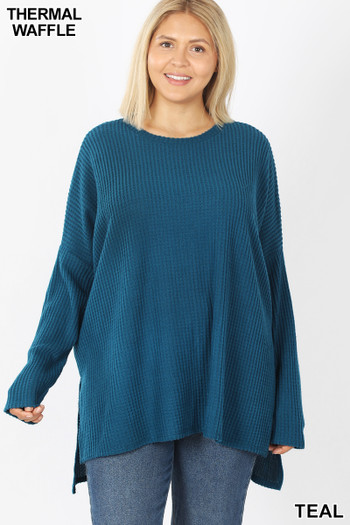 Front view of Teal Wholesale Brushed Thermal Waffle Knit Round Neck Hi-Low Plus Size Sweater