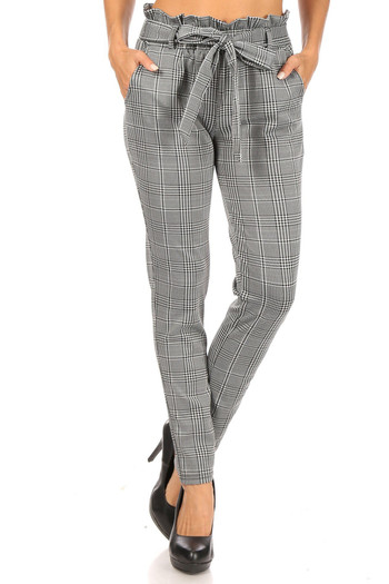 Wholesale Houndstooth Plaid High Waisted Paper Bag Tie Front Pants
