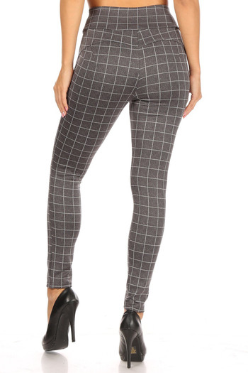 Wholesale Charcoal Grid Print High Waisted Body Sculpting Treggings with Pockets