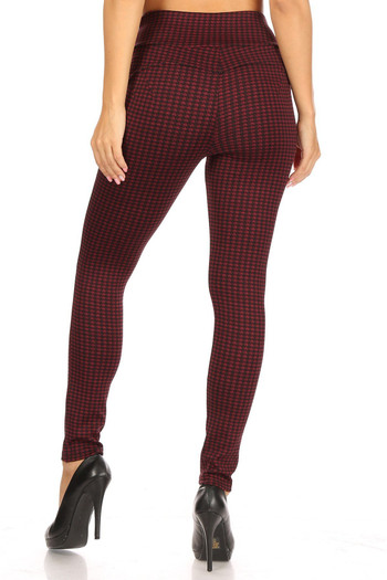 Wholesale Burgundy Houndstooth High Waisted Body Sculpting Treggings with Pockets