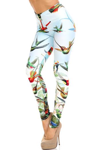 Wholesale Creamy Soft Happy Hummingbirds Extra Plus Size Leggings - 3X-5X - USA Fashion™
