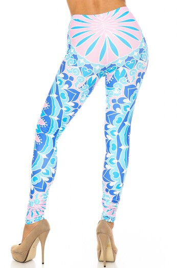 Wholesale Creamy Soft Bursting Blue Mandala Plus Size Leggings - USA Fashion™