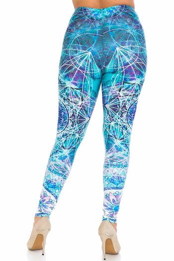Wholesale Creamy Soft Cyan Mandala Plus Size Leggings - USA Fashion™