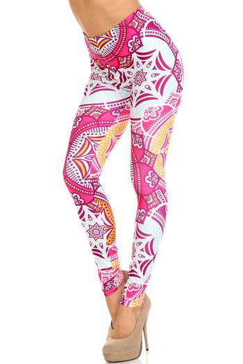 Wholesale Creamy Soft Crimson Aquamarine Mandala Plus Size Leggings - USA Fashion™