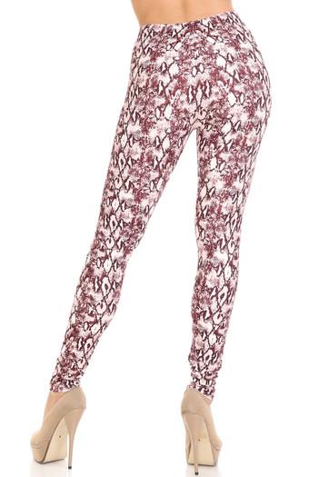 Wholesale Creamy Soft Crimson Snakeskin Plus Size Leggings - USA Fashion™