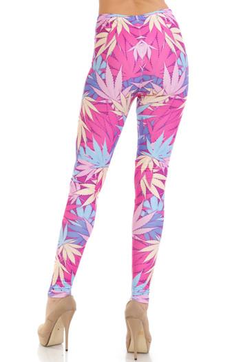 Wholesale Creamy Soft Pretty in Pink Marijuana Leggings - USA Fashion™