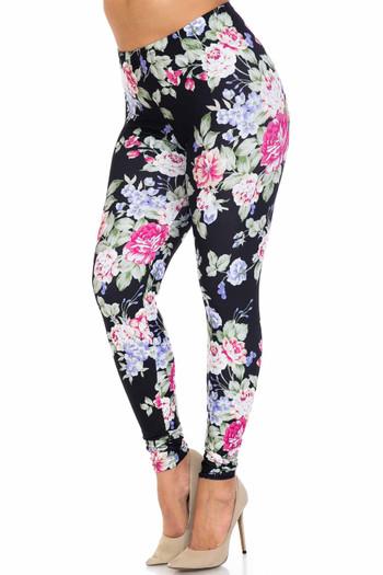 Wholesale Creamy Soft Delightful Rose Extra Plus Size Leggings - 3X-5X - USA Fashion™