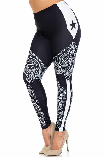 Wholesale Creamy Soft Bandana Stars Extra Plus Size Leggings - 3X-5X - USA Fashion™