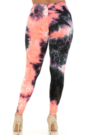 Wholesale Buttery Soft Coral Tie Dye Extra Plus Size Leggings - 3X-5X
