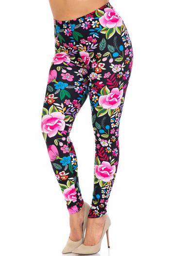 Wholesale Creamy Soft Floral Oasis Extra Plus Size Leggings - 3X-5X - USA Fashion™