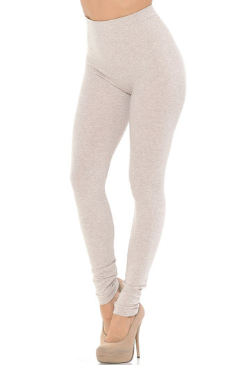 Wholesale Comfy Heathered High Waisted Plus Size Leggings