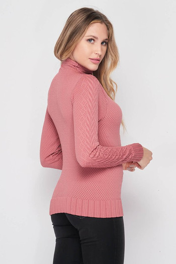 Right side image of Wholesale Seamless Fitted Mock Neck Cable Knit Top