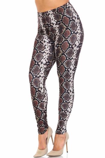 Wholesale Creamy Soft  Brown Boa Snake Extra Plus Size Leggings - 3X-5X - USA Fashion™