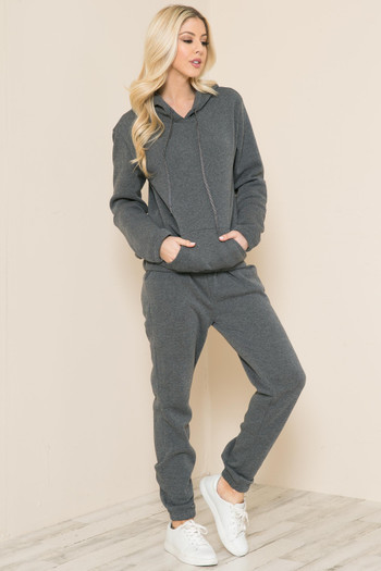 Charcoal Wholesale 2 Piece Solid Fleece Lined French Terry Joggers and Hoodie Set