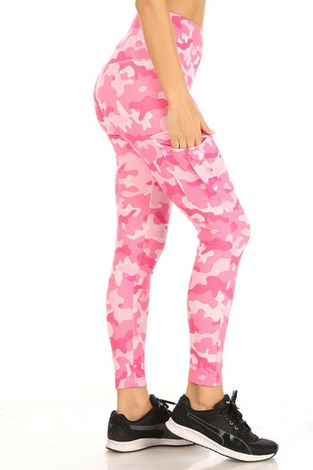 Right side Wholesale Cotton Candy Camouflage Sport Leggings with Cargo Pocket