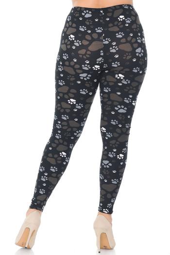 Wholesale Creamy Soft Muddy Paw Print Extra Plus Size Leggings - 3X-5X - USA Fashion™