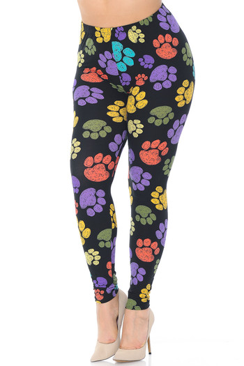 Wholesale Creamy Soft Colorful Paw Print Plus Size Leggings - USA Fashion™