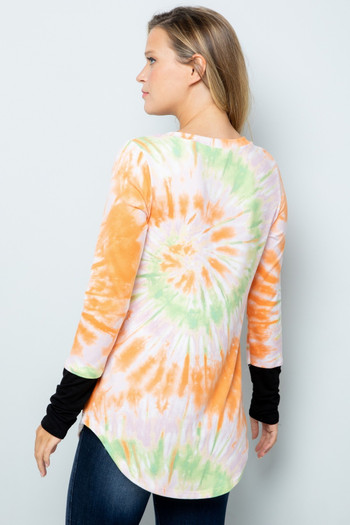 Orange Wholesale Tie Dye Contrast Cuff Long Sleeve Plus Size V Neck Top