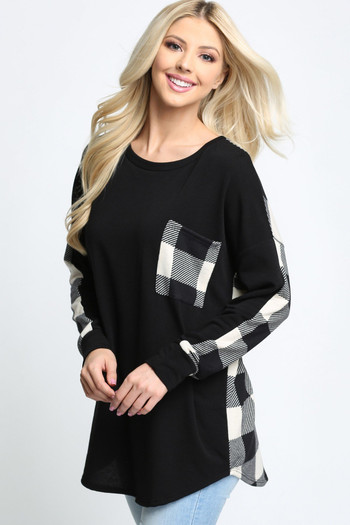 White Wholesale Plaid Contrast Long Sleeve Top with Front Pocket